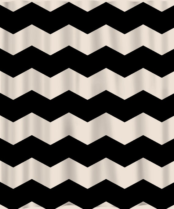 Like this item Custom Chevron Shower Curtain Extra Wide 6 inch stripes. Black And Cream Shower Curtain. Home Design Ideas
