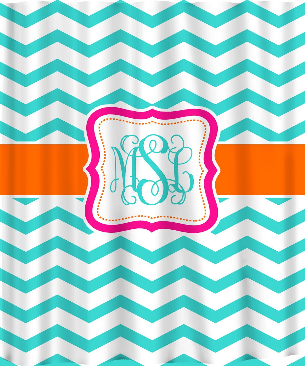 Personalized Shower Curtain Shown Aqua Orange & Hot Pink