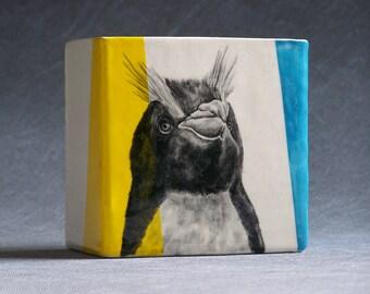 Hand Painted Crested Penguin Portrait Medium Pencil Box Vase