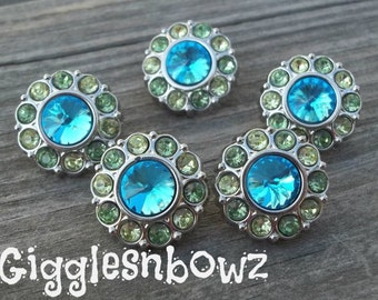 Sale Rhinestone Buttons- 5 Pc Turquoise, Lime MuLTi COLOR Acrylic Rhinestone Buttons 18mm Flower Centers, Diy Headband and Hairbow Supplies