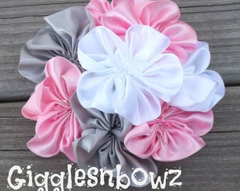 Single AMAZiNG Satin CLuSTeR Flower- SPRiNG Pink, Silver, White- 4 inch