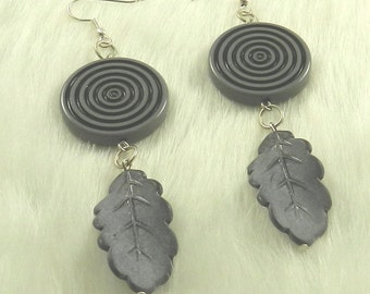 Shades of Gray Earrings with Surgical Steel Earwires and Leaf Drops, Grey, Silver, Dangles