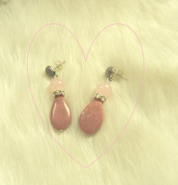 It's All About Love -- Rose Quartz and Rhodonite Earrings