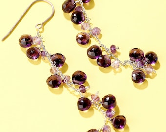 Long Dangling Faceted Purple Amethyst Earings on Sterling Silver French Ear Wire