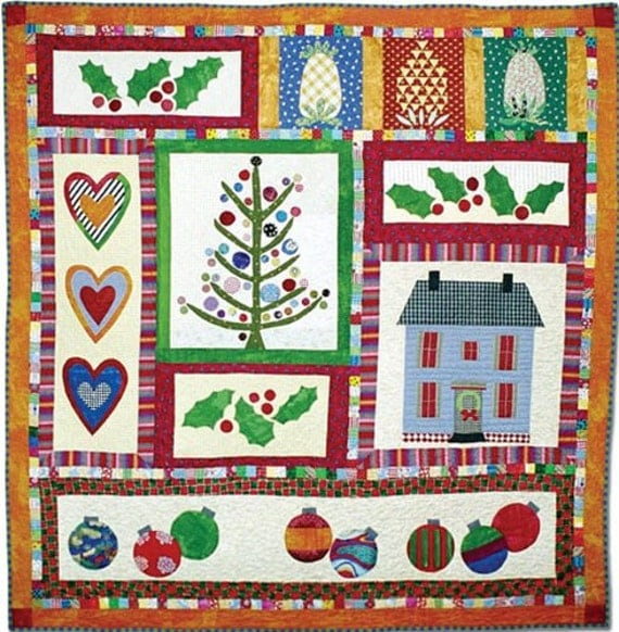Htf Folk Art Xmas Row Quilt Pattern By By Moonlightmercantile