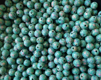 DE-STASH / Beading Supplies - Fimo Polymer Clay 9mm Round Beads w/ 1.5mm Holes (Turq. Blue, Pink & Green Daisies) Wholesale Bulk Loose Beads