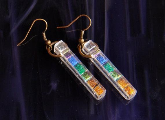 Handmade Dichroic Fused Glass Earrings ...rainbows...