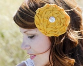 RUTH CLIP- Mustard Yellow rosette shabby chic hair clip
