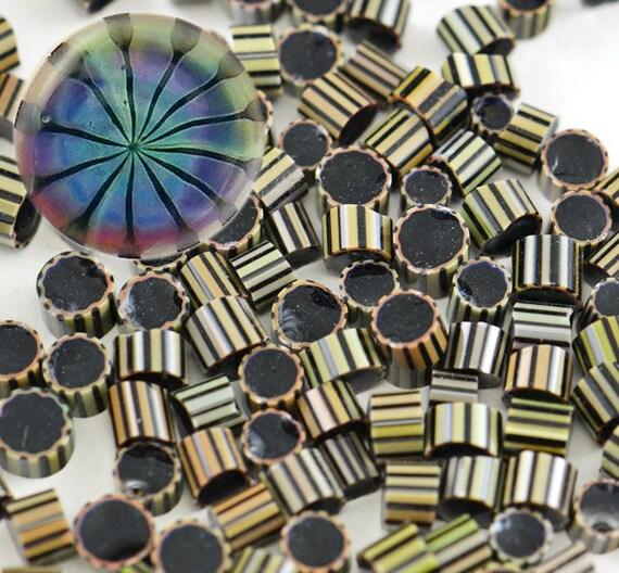STARLIGHT - Silver Glass Murrini chips - violet blue aqua turquoise - Handmade for Glass Artisans by CCGlassArt - COE 104