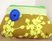 Purse w/ Poppy Flower - Coriander in Olive - Amy Butler Fabric.makeup purse.small purse.bridesmaid gift.women gift.ready to ship