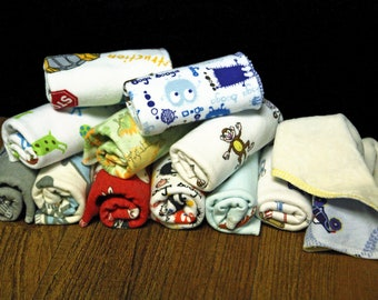 Cloth Wipes- Bamboo Velour / Cotton Knit- 15 Pack Boy Variety
