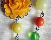 Summer Necklace - Rose Necklace with Vintage Czech Glass and Lucite Pearl Beads