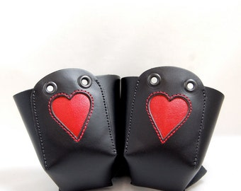 Leather Skate Toe Guards with Red Inlaid  Hearts