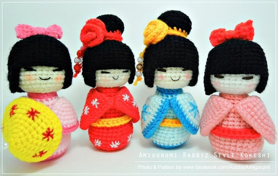 Kokeshi Doll Knitting Pattern : PDF Pattern - Amigurumi Kokeshi Dolls from rabbizdesign on Etsy Studio