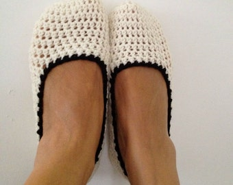 Cream Beige Crochet Womens Slippers, Ballet Flats, House Shoes