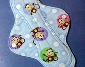 Mama Cloth Reusable Sanitary Menstrual Sanitary Pad blue monkeys - size SMALL to MEDIUM