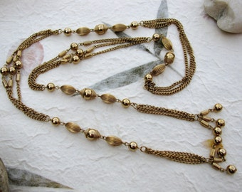Long Vintage Gold Chain Lariat Tassel Necklace or Belt