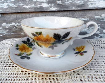 The Yellow Rose Teacup and Saucer Shabby chic style