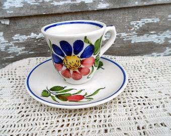 Vintage Teacup Tea Cup and Saucer Portugal handpainted Floral Demitasse