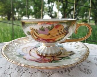 Vintage Teacup Tea Cup and Saucer Pedestal Lusterware Fruit Banana plum pear