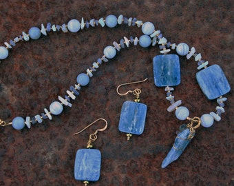 FADED BLUES Necklace and Earrings (Blue Kyanite, Blue Opal, Blue Lace Agate, Tanzanite, Fluorite)