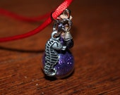 Purple Seahorse Potion Bottle Pendant