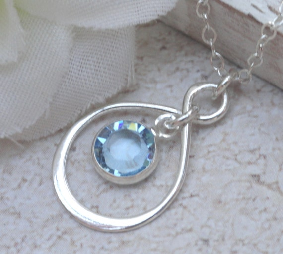 Infinity Necklace With Swarovski Crystal Birthstone Of Your Choice Ideal Gift For Mother, Daughter Best Friend Or Bridesmaid