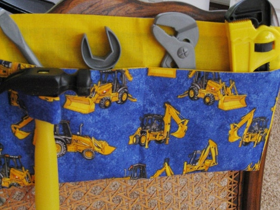 Kids Tool Belt - Construction Vehicles on Blue - Ready to Ship