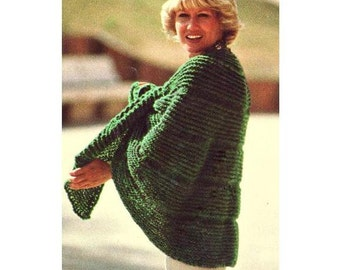 INSTANT DOWNLOAD PDF Vintage Knitting Pattern   Tie Front Cape Poncho Wrap Retro