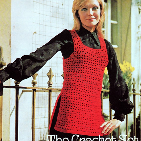 INSTANT DOWNLOAD PDF Vintage Crochet Pattern    1970s Red Tabard Tunic Top Pullover    Retro