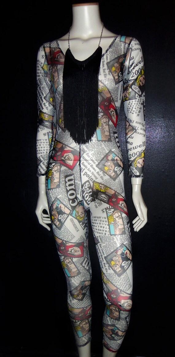 CatSuit BodySuit ...COMIC newspaper... sheer fabric