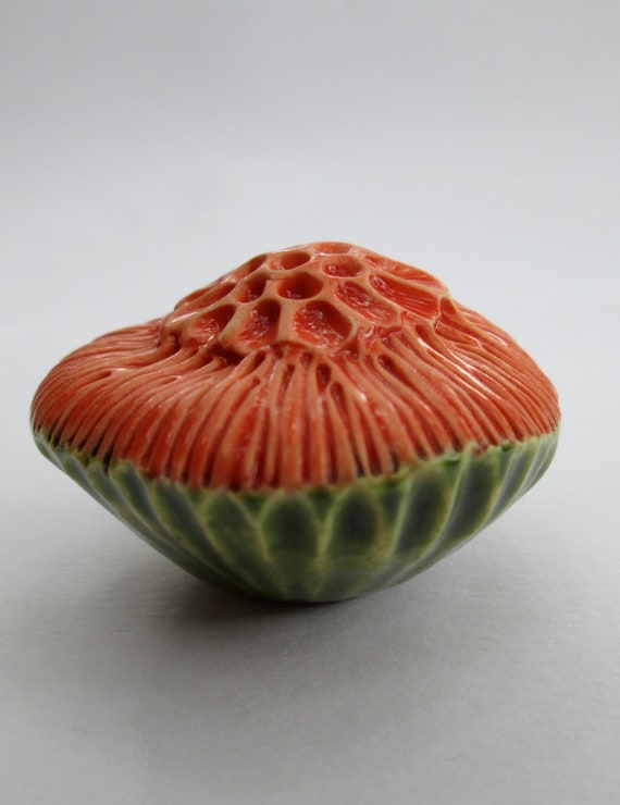 Green and Red Orange Ceramic Flower Wall Pod