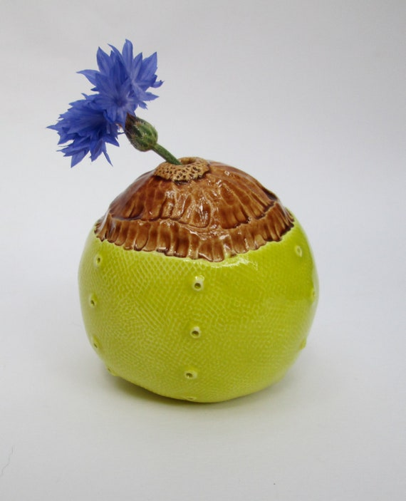 Small Chartreuse and Brown Ceramic Pod Vase