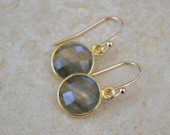 Labradorite Gemstone Earrings with Gold - Dangle Earrings by SplendorVendor