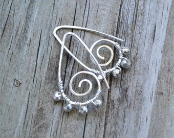 Wire Wrapped Pyrite on Handmade Sterling Silver Leaves - Falling Leaves with Pyrite Earrings by SplendorVendor