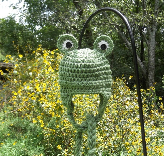 Frog Prince Earflap Hat - newborn - photography prop - ready to ship