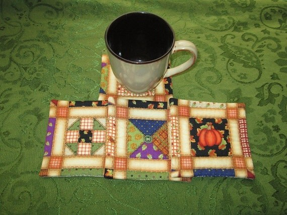welcome autumn set of mug rugs
