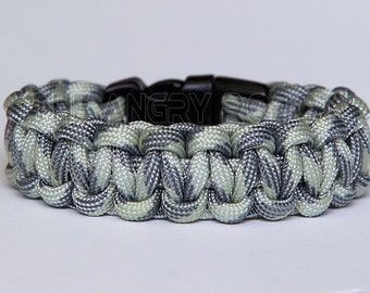 SLIM Paracord Survival Bracelet Cobra - Shades Of Grey - Silver Grey