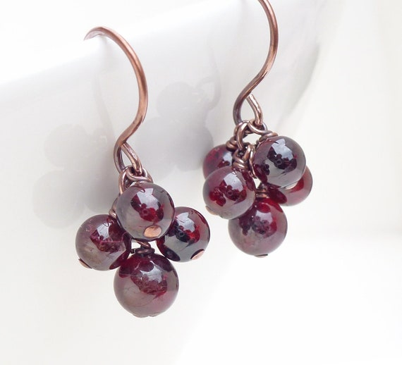 Garnet and copper earrings, dark red garnet earrings, copper jewelry