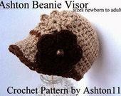 INSTANT DOWNLOAD Crochet Pattern PDF 74 Ashton Beanie Visor Newsboy Hat, make All sizes Baby to Adult