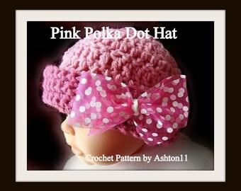INSTANT DOWNLOAD - Pink Polka Dot Hat - Crochet Pattern PDF 133- Crochet Baby Hat Pattern by Ashton11