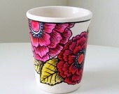 Ceramic Cup Hand Painted Fuschia Pink Flowers Botanicals Green Leaves Illustrated Drinkware - READY TO SHIP - sewZinski
