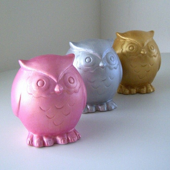 Ceramic Owls Trio Metallic Pink Silver Gold Woodland Decor Painted Modern birds Home Decor