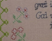 Swan, Flowers, Verses PDF Charted Cross Stitch Pattern, Seen of Angels digital pattern