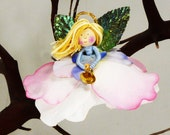 Pastel Christmas Angel Ornament , Pink and Blue Fairy Angel Decoration, Miniature Girl Angel, Flower Angel Doll Ornament