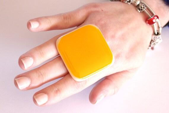 Cocktail Ring Glass - big bold oversize handmade adjustable statement ring - LEMON ZEST - 1.8 inch