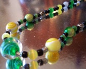 Duck Fan Special Beaded Necklace Yellow and Green