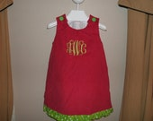 Personalized Corduroy  A-Line Jumper Dress with ruffle  Aline Personalized Monogrammed