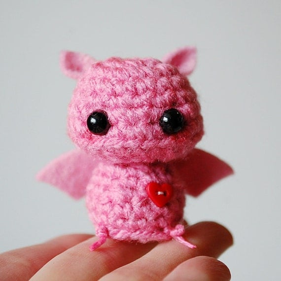 RESERVED Listing - Baby Pink Bat - Kawaii Mini Amigurumi