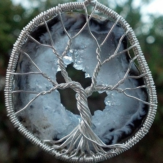 Drusy Geode Tree of Life Pendant - Recycled Sterling Silver